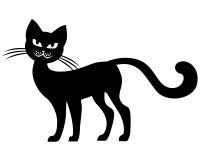 Chat noir de silhouette Photographie stock libre de droits