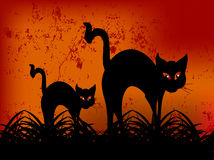Chat noir heureux de Veille de la toussaint illustration de vecteur