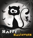 Chat noir heureux de Veille de la toussaint Photographie stock