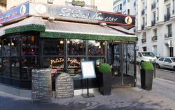 The Chat Noir is historical bistro located in Montmatre area of Paris, France. Paris, France-January 14, 2018: The Chat Noir is historical bistro in Montmartre Royalty Free Stock Photos