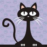 Chat noir, illustration drôle de vecteur et fond avec des poissons et des pattes illustration stock