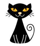 Chat noir mignon de veille de la toussaint Images stock