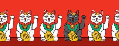 Chat noir parmi les chats blancs de fortune illustration stock