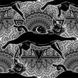 Chat noir sautant le modèle sans couture sur le croissant de lune fleuri illustration stock