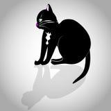 Chat noir sur un fond gris Photos stock
