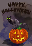 Chat noir sur un potiron Veille de la toussaint heureuse Photographie stock libre de droits