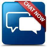 Chat now blue square button red ribbon in corner. Chat now  on blue square button with red ribbon in corner abstract illustration Royalty Free Stock Photo