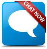Chat now cyan blue square button red ribbon in corner. Chat now isolated on cyan blue square button with red ribbon in corner abstract illustration Stock Photography