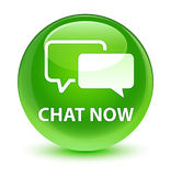 Chat now glassy green round button Royalty Free Stock Photography