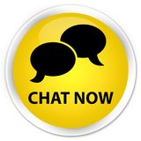 Chat now premium yellow round button Royalty Free Stock Photography