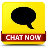 Chat now yellow square button red ribbon in middle Stock Photo