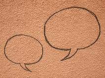 Chat paints shape form on wall Royalty Free Stock Photography