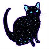 Chat psychédélique cosmique drôle mignon de silhouette Illustration Libre de Droits