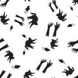 Chat, rat, modèle de Halloween de main sans couture illustration stock