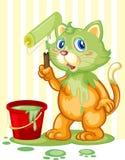Chat renversant la peinture illustration stock