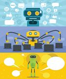 Chat robot banner concept set, flat style vector illustration