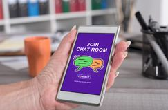 Chat room concept on a smartphone Stock Photos