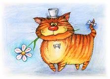 Chat rouge avec l'aquarelle de fleur et de chapeau Photographie stock