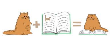 Chat rouge mignon L'animal familier regarde le livre, se repose sur le livre L'animal lit et sourit image de bande dessin?e Illus illustration stock
