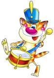 Chat rouge rayé avec un tambour dedans Photographie stock libre de droits