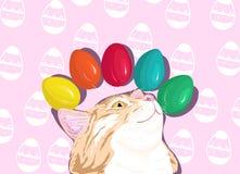 Chat rouge s'étendant avec les oeufs de pâques colorés Images stock