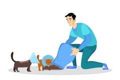 Chat sans abri et chien d'alimentation volontaire Id?e de la charit? illustration libre de droits
