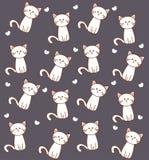 Chat sans couture de blanc de modèle illustration libre de droits