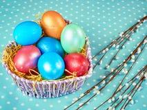 Chat-saule de Pâques et oeuf de pâques sur le fond authentique Carte de Pâques heureuse Images libres de droits