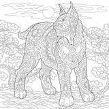 Chat sauvage sauvage de lynx de Zentangle caracal illustration stock