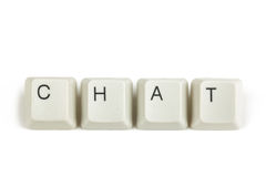 Chat from scattered keyboard keys on white Stock Photography
