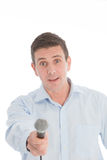 Chat show host with a startled expression Stock Photography
