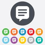 Chat sign icon. Speech bubble symbol. Communication chat bubble. Round colourful 11 buttons royalty free illustration