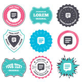 Chat sign icon. Speech bubble symbol. Label and badge templates. Chat sign icon. Speech bubble symbol. Communication chat bubble. Retro style banners, emblems Royalty Free Stock Photo