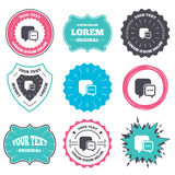Chat sign icon. Speech bubble symbol. Label and badge templates. Chat sign icon. Speech bubble with three dots symbol. Communication chat bubble. Retro style Royalty Free Stock Photos