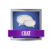 Chat sign reflected on glossy blue square Royalty Free Stock Photography