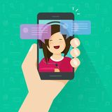 Chat on smartphone vector illustration, flat cartoon messages notification bubbles on mobile phone screen and happy girl. Person on screen, chatting on royalty free illustration