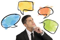 Chat and social network. Concept with thinking businessman Royalty Free Stock Photography