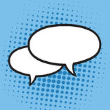 Chat Speech Balloons or Bubbles Pop Art Vector Illustration Icon. Blue Background Stock Images