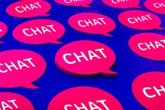 Chat,speech bubble icons on blue color background.Talking and message for social media concepts royalty free stock photos
