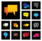Chat or speech bubbles vector icons set on black background Stock Photos