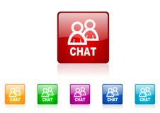 Chat square web glossy icon Royalty Free Stock Photo