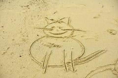 Chat sur le sable Images stock