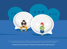 Chat talk addiction concept illustration. Of young people using smartphones for sending messages to each other via messenger. Flat guy and woman sitting on the Stock Images