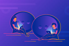 Chat talk concept illustration of young people using laptops for sending messages Stock Photography