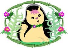 Chat tropical dans la trame de bambou et de fleur illustration de vecteur