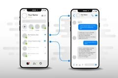 Chat UI Application design concept. Social network messenger communication service screen template royalty free illustration
