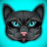 Chat, visage, yeux, vecteur, animal, mignon, chaton, arc Image stock