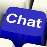 Chat Word Computer Key Representing Talking Or Texting Stock Photography