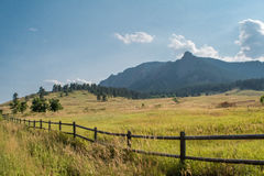 Chataqua Park. Open fields before the flatirons in Chataqua park in Boulder, Colorado Stock Image