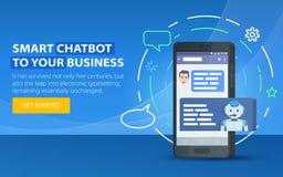 Chatbot企业概念 站点的现代横幅 Chatbot和未来营销概念 手机对话框  智能手机 免版税库存照片